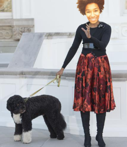 AMINA HENRY walks her pup!